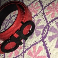 Salvatore Ferragamo Belt Red W/ Black Buckle 34in