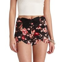 FLORAL PRINT HIGH-WAISTED TULIP SHORTS