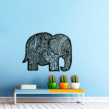 Wall Decal Vinyl Sticker Decals Art Home Decor Mural Indian Elephant Tribal Pattern Om Sign Ganesh Buddha Lotus Yoga Art Bedroom Dorm AN408