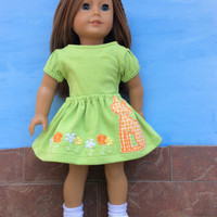 18 Inch Doll Clothes, Green Doll Skirt and Top, Appliquéd Doll Skirt, fits American Girl Dolls, Upcycled, Summer Doll Clothes