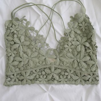 Fresh As A Daisy Bralette - Sage