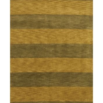 EORC Hand-knotted Wool Green Transitional Stripe Stripe Rug