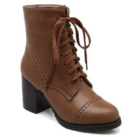 Brown Chunky Heel Lace Up Boots