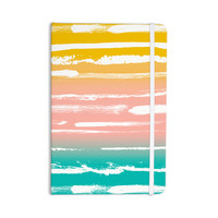 "Anneline Sophia ""Painted Stripes Peach"" Pink Teal Everything Notebook"