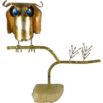Vintage Early Mid Century Modern Curtis Jere Owl Table Top Sculpture - Signed c. 1967