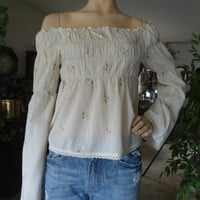 Vintage 60's 70's Style Hippie Boho Drop Shoulder Smocked Top with Bell Sleeves