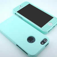 New Prime HOT Mint Gloss hard silicone case cover + Mint HD film for iPhone 5