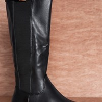 Reneeze Peak Of Perfection Gored Panel Faux Leather Riding Boots Marisa-01 - Black