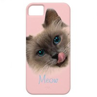 Cute Cat Meow Blue Eyes Pink Girly Phone Cases iPhone 5 Covers from Zazzle.com