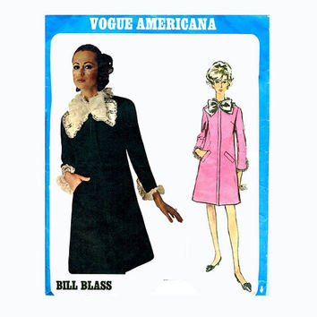 1960s MOD BILL BLASS Designer Dress w/ Detachable Neck & Sleeve Ruffle, Lace Bow Vogue Americana 1973 Uncut Vintage Sewing Patterns + Label