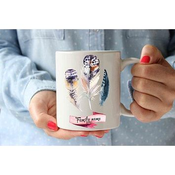 Coffee Mug | Family Feathers Personalized Mug | Funny Coffee Design Mug | Birthday Gift Idea For Him, Her | Home Office Decor | Cute Tea Cup