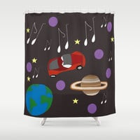 Awesome Ride, Starman Shower Curtain by carmenrayanderson