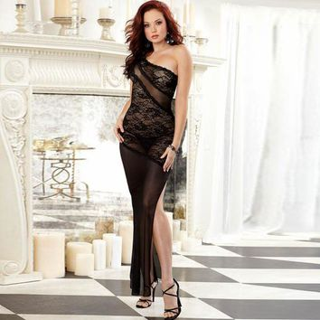 Cute Hot Deal On Sale Sexy Lace Split Sleepwear Dress Exotic Lingerie [6596467331]