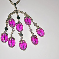 Vintage Sarah Coventry Necklace, 1970 Amethyst Wisteria Lucite Necklace