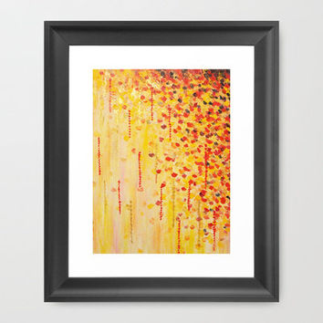 WHEN IT FALLS Bold Autumn Winter Leaves Abstract Acrylic Painting Christmas Red Orange Gold Gift Framed Art Print by EbiEmporium | Society6