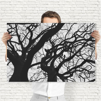 Abstract Tree Branches - Black and White Nature Photography, Digital Download | Gothic Wall Decor by Mila Tovar
