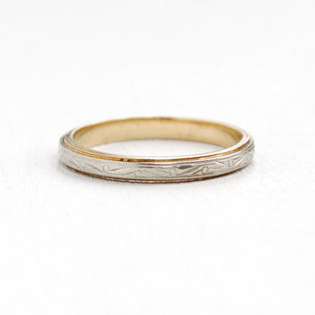 Antique 14k White & Yellow Gold Etched Wedding Band Ring- Size 7 1/2 Art Deco Eternity Embossed Blossom Milgrain Etched Fine Jewelry