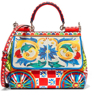 Dolce & Gabbana - Sicily small printed textured-leather shoulder bag