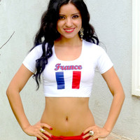 France White Short Sleeve Crop Top
