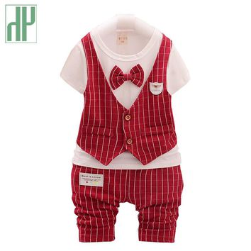 Gentleman boutique kids clothes shirt+pants and bow party baby boys clothes for girls fall children clothing outfits 2pcs/set