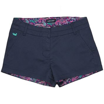 The Brighton Short in Colonial Navy with Paisley by Southern Marsh