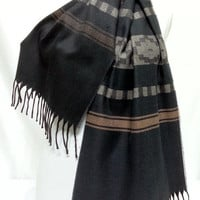 Black and Gray Cashmiren Men's Scarf, Black and Gray Scarf, Black and Gray Soft Scarf - KR1411095