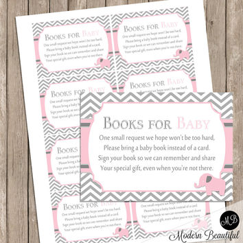 Book Request Insert Card - Elephant Theme baby shower,  pink and gray, baby shower bring a book request card INSTANT DOWNLOAD pe1