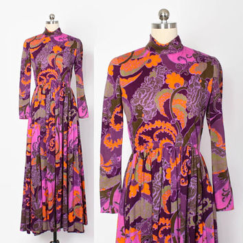 Vintage 60s GEOFFREY BEENE Dress / 1960s Bright Purple & Orange Ethnic Wool Maxi Dress