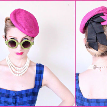 1940s Hat / VINTAGE / 40s Hat / Tilt / Toy / Pink / Bows / Fuchsia / Pin Up Style / CUTE!