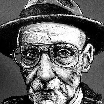 "Print 8x10"" - William S Burroughs - Naked Lunch Cyberpunk Glasses Drugs Science Fiction Needle Junkie Hipster Nerd Pop Art Gun Beatnik"