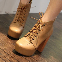 Western Womens Lace-up High Heels Wood High Heels Platform Ankle Boots Shoes 1kf