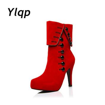 Fashion Women Boots 2017 High Heels Ankle Boots Female Causal Platform Brand Women Shoes Autumn Winter botas zapatos mujer