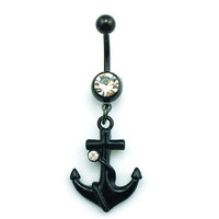 New Charming Dangle Crystal Navel Belly Ring Bling Barbell Button Ring Piercing Body Jewelry = 4804891908