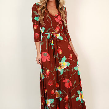 Fields Of Pretty Maxi Dress in Dark Rust