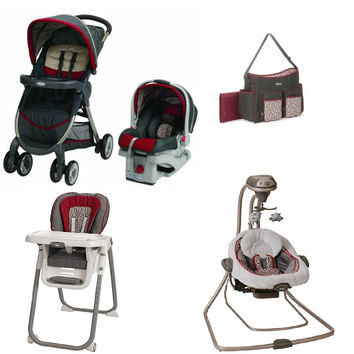Graco Red Finley Baby Gear Bundle, Stroller Travel System, Play Yard, Swing, and High Chair