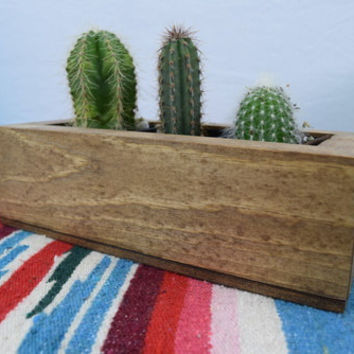 Wood Cacti and Succulent Plant Holder - Geometric Planter - Rectangular Succulent Planter Box