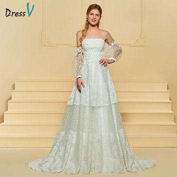 Dressv Ivory Wedding Dress Strapless Long Sleeves Court Train A Line Lace Tulle Elegant Wedding Gown 2018 Custom Wedding Dress
