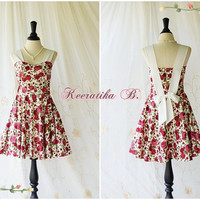 A Party Princess - Retro Vintage Inspired Red Roses Sundress Floral Summer Dress Floral Tea Dress Bridesmaid Prom Party Dress Custom Made