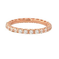 Sterling Silver Cubic Zirconia Ring Stackable Rose Gold Plated - 2.5mm Wide