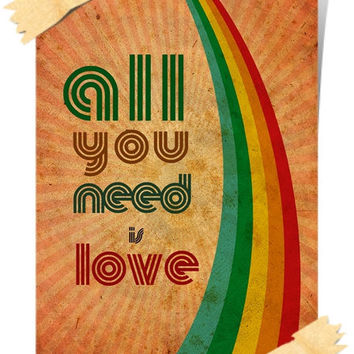HAPPY POSTER print A4  All You Need is LOVE Art Deco Design Inspirational Wall Hanging Colorful Stylish Rainbow Retro Vintage Decoration