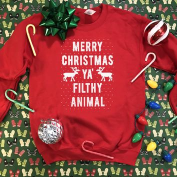 Merry Christmas Ya Filthy  Animal - Ugly Christmas Sweater 2