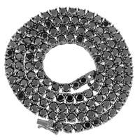"""24"""" 4mm Iced Out black Gold finish Simulated Diamond Tennis Chain XmasDeal"""