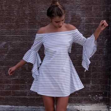 Light Grey Striped Trumpet Sleeve Flounced Dress