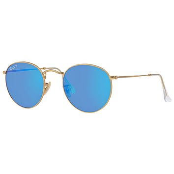 RAY-BAN ROUND RB3447 112/4L POLARIZED BLUE MIRROR LENS MATTE GOLD 50-21 50MM