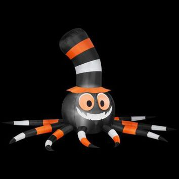 Gemmy 114.17 in. W x 78.74 in. D x 66.93 in. H Inflatable Spider with Stove-Pipe Hat-51951X - The Home Depot