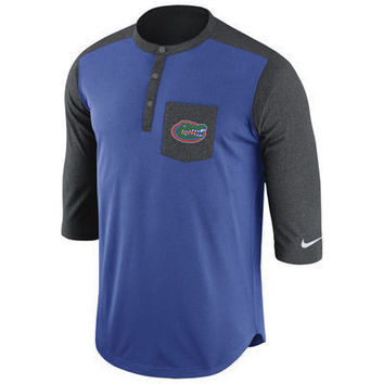 NCAA Florida Gators Nike Mens Touch Henley 3/4 Sleeve Performance T-Shirt