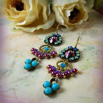 Inanna Micro Mosaic Crystal Pearl Chandelier Earrings, Violet Aqua Wine, Bridal Wedding, Garden Party, Goddess, Gypsy, Bridesmaid