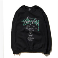 Stussy  Graffiti Printed Round Neck Long Sleeve Sweater Pullovers