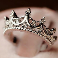 Silver Diamond Imperial Crown Ring - Sheinside.com