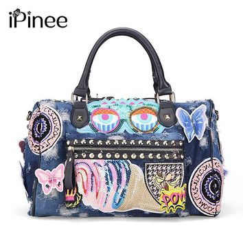 iPinee New 2017 Women Luggage Travel Bags Cute Cartoon Daypack Denim Bags Handbags Fashion Shoulder Bag Female